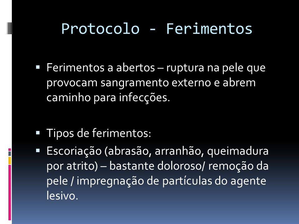Protocolo - Ferimentos Ferimentos a abertos – ruptura na pele que provocam sangramento externo e abrem caminho para infecções. Tipos de ferimentos: Es