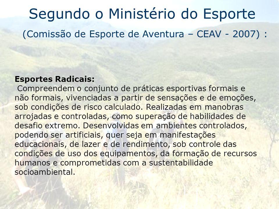 Segundo o Ministério do Esporte (Comissão de Esporte de Aventura – CEAV - 2007) : Esportes Radicais: Compreendem o conjunto de práticas esportivas for