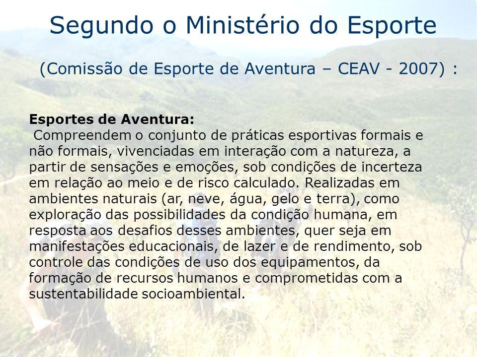 Segundo o Ministério do Esporte (Comissão de Esporte de Aventura – CEAV - 2007) : Esportes de Aventura: Compreendem o conjunto de práticas esportivas