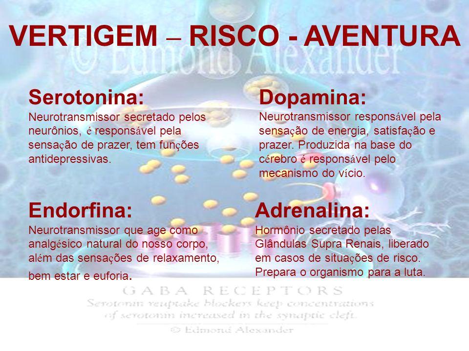 VERTIGEM – RISCO - AVENTURA Serotonina: Neurotransmissor secretado pelos neurônios, é respons á vel pela sensa ç ão de prazer, tem fun ç ões antidepre