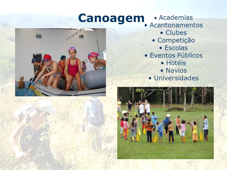 Canoagem Academias Acantonamentos Clubes Competição Escolas Eventos Públicos Hotéis Navios Universidades