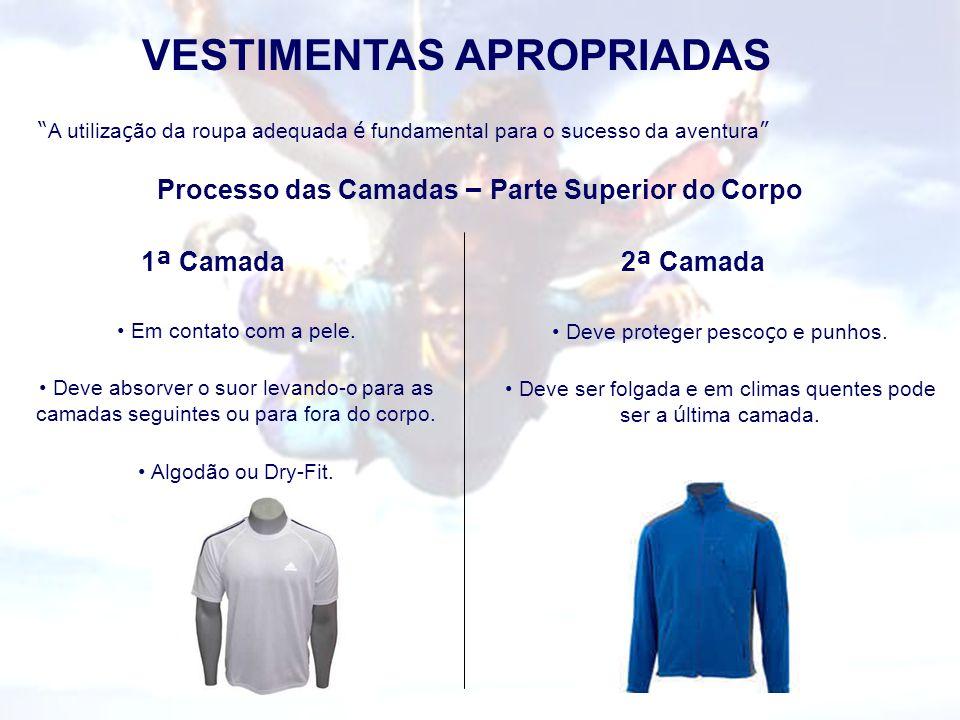 VESTIMENTAS APROPRIADAS A utiliza ç ão da roupa adequada é fundamental para o sucesso da aventura Processo das Camadas – Parte Superior do Corpo 1 ª C