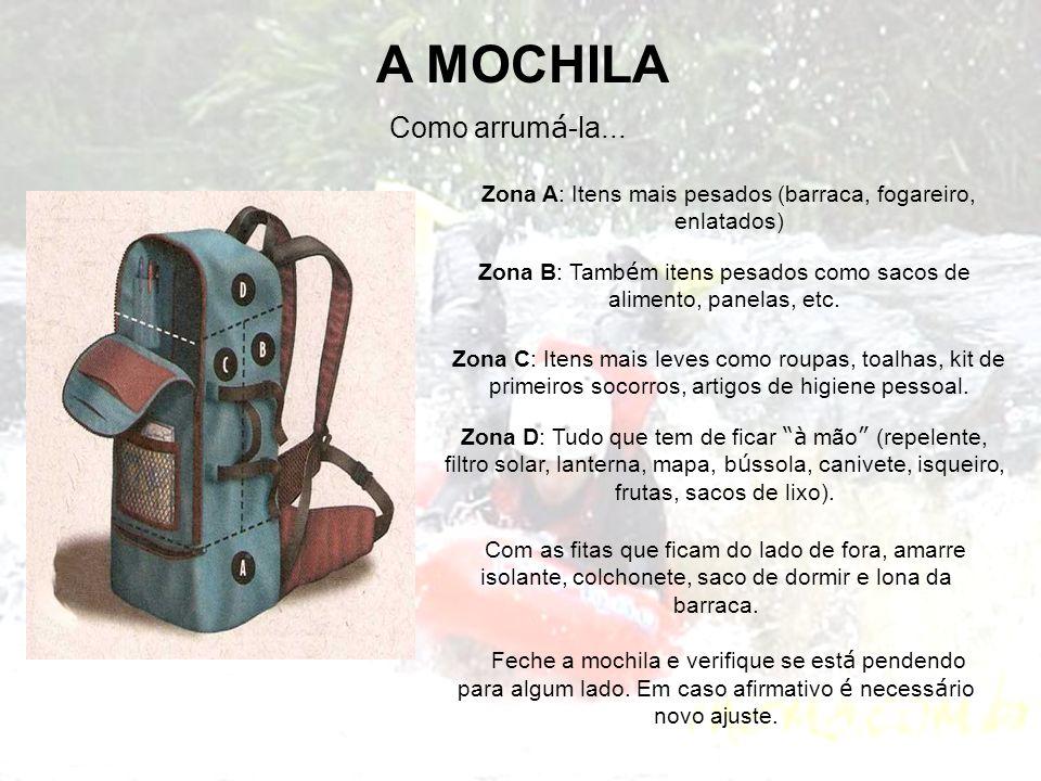 A MOCHILA Como arrum á -la... Zona A: Itens mais pesados (barraca, fogareiro, enlatados) Zona B: Tamb é m itens pesados como sacos de alimento, panela