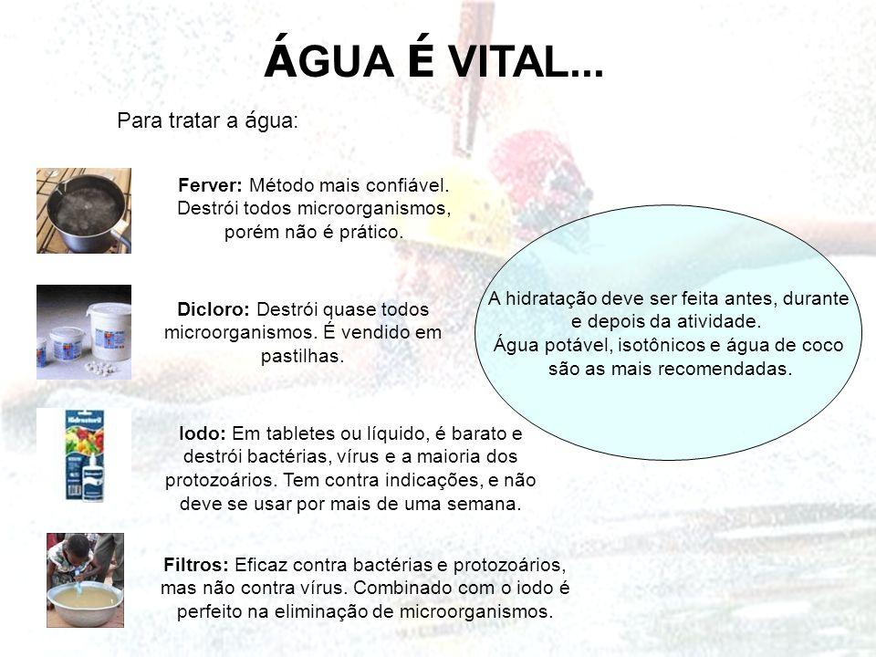 Á GUA É VITAL... A hidratação deve ser feita antes, durante e depois da atividade. Água potável, isotônicos e água de coco são as mais recomendadas. P