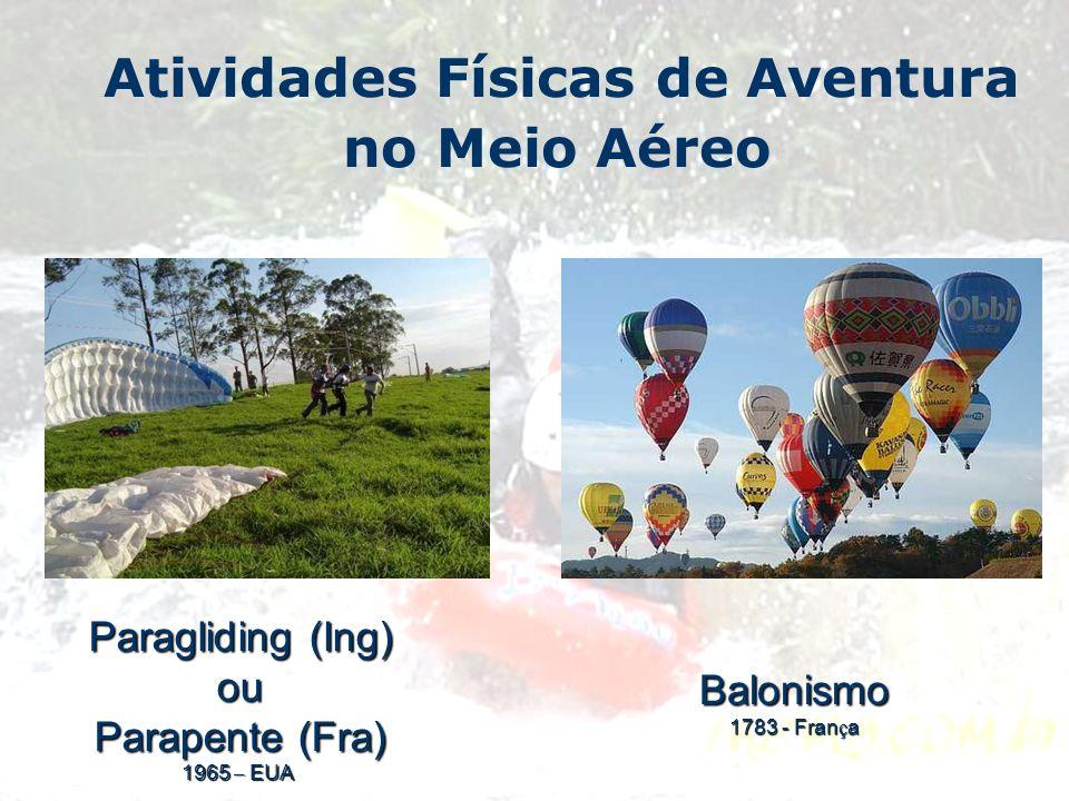 Atividades Físicas de Aventura no Meio Aéreo Paragliding (Ing) ou Parapente (Fra) 1965 – EUA Balonismo 1783 - Fran ç a