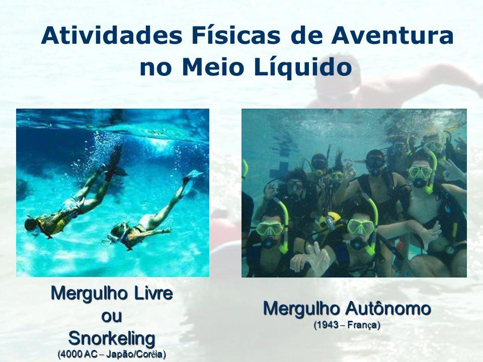 Atividades Físicas de Aventura no Meio Líquido Mergulho Livre ouSnorkeling (4000 AC – Japão/Cor é ia) Mergulho Autônomo (1943 – Fran ç a)