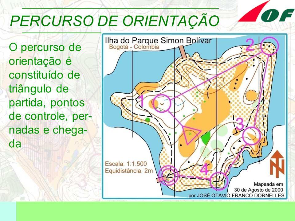 PERCURSO DE ORIENTAÇÃO O percurso de orientação é constituído de triângulo de partida, pontos de controle, per- nadas e chega- da
