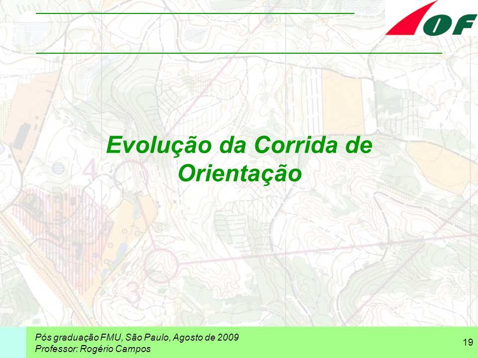 Pós graduação FMU, São Paulo, Agosto de 2009 Professor: Rogério Campos 19 Evolução da Corrida de Orientação