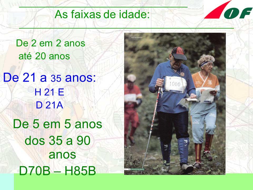 As faixas de idade: De 2 em 2 anos até 20 anos De 21 a 35 anos: H 21 E D 21A De 5 em 5 anos dos 35 a 90 anos D70B – H85B