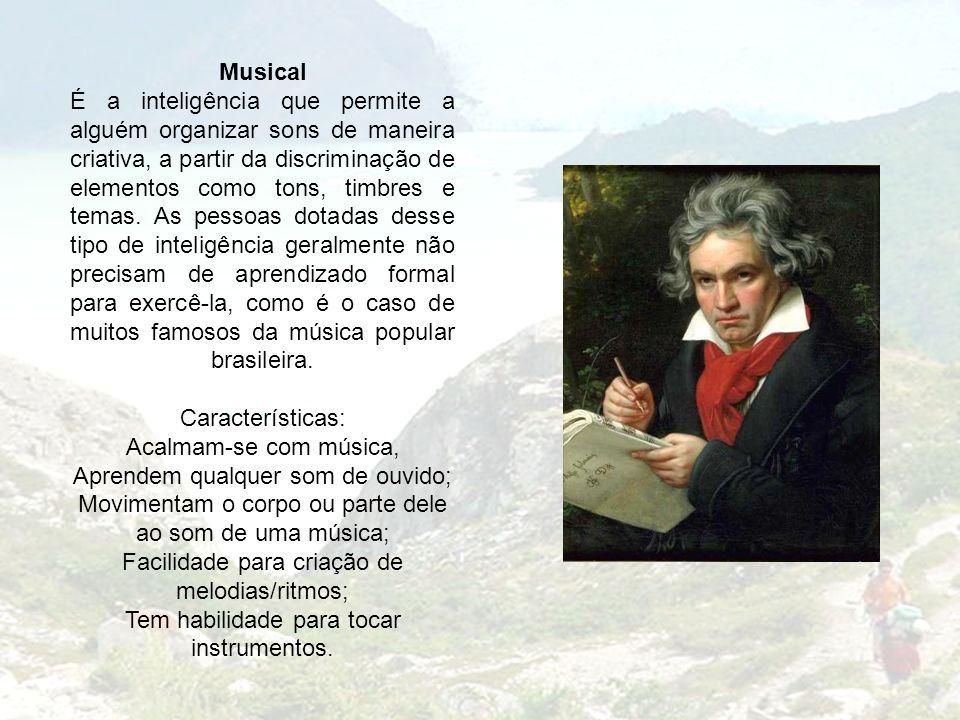 Musical É a inteligência que permite a alguém organizar sons de maneira criativa, a partir da discriminação de elementos como tons, timbres e temas. A