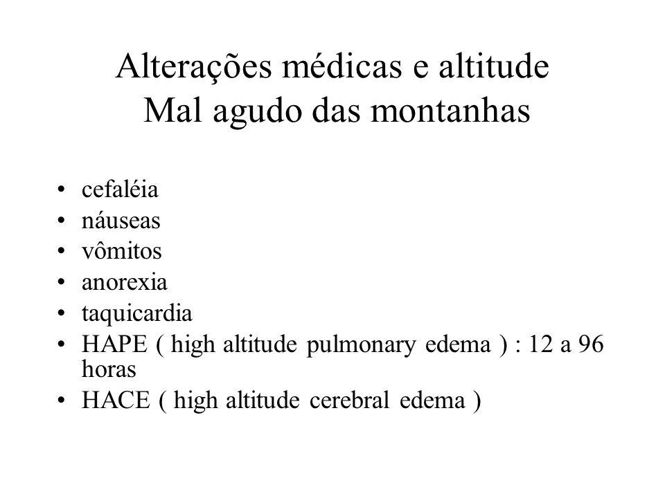 Alterações médicas e altitude Mal agudo das montanhas cefaléia náuseas vômitos anorexia taquicardia HAPE ( high altitude pulmonary edema ) : 12 a 96 h