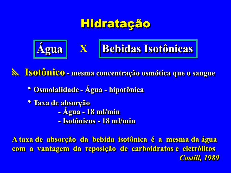 HidrataçãoHidratação Isotônico - mesma concentração osmótica que o sangue Isotônico - mesma concentração osmótica que o sangue Osmolalidade - Água - h