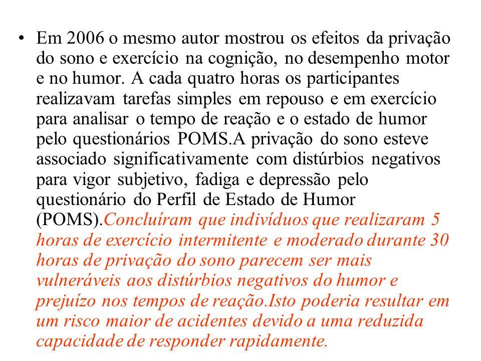 Em 2006 o mesmo autor mostrou os efeitos da privação do sono e exercício na cognição, no desempenho motor e no humor. A cada quatro horas os participa
