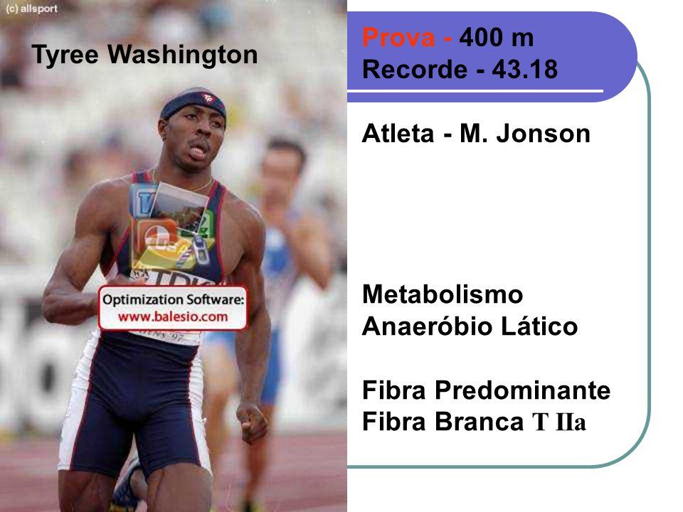 Tyree Washington Prova - 400 m Recorde - 43.18 Atleta - M. Jonson Metabolismo Anaeróbio Lático Fibra Predominante Fibra Branca T IIa