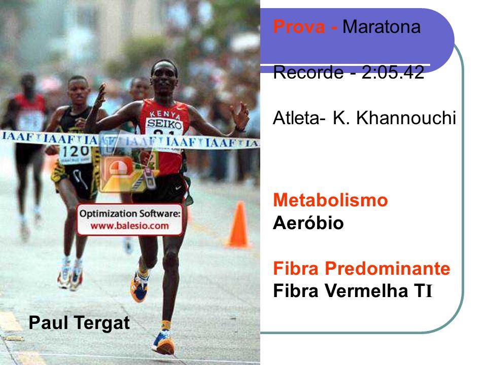 Paul Tergat Prova - Maratona Recorde - 2:05.42 Atleta- K. Khannouchi Metabolismo Aeróbio Fibra Predominante Fibra Vermelha T I