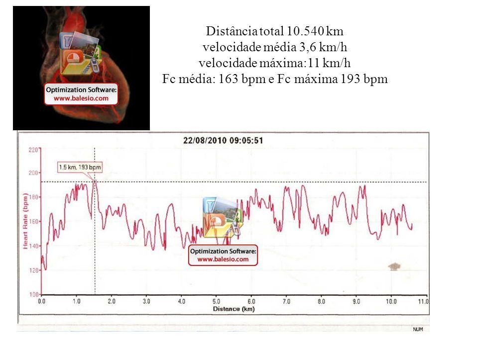 Distância total 10.540 km velocidade média 3,6 km/h velocidade máxima:11 km/h Fc média: 163 bpm e Fc máxima 193 bpm