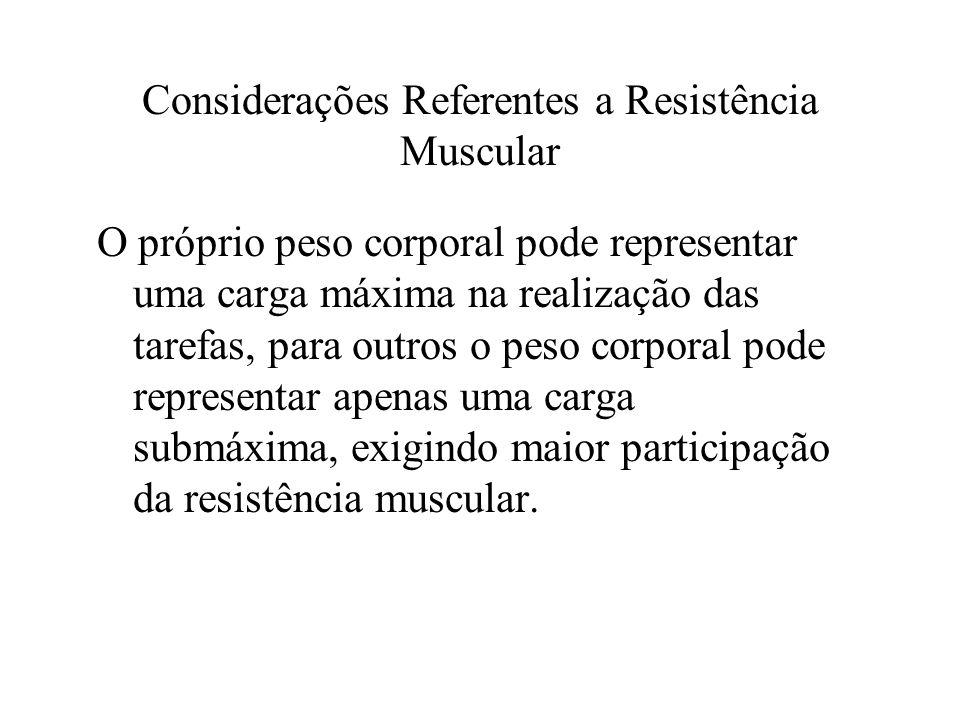 Considerações Referentes a Resistência Muscular O próprio peso corporal pode representar uma carga máxima na realização das tarefas, para outros o pes