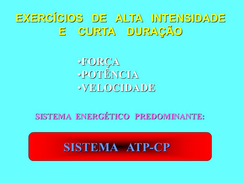 EXERCÍCIOS DE ALTA INTENSIDADE E CURTA DURAÇÃO FORÇAFORÇA POTÊNCIAPOTÊNCIA VELOCIDADEVELOCIDADE SISTEMA ENERGÉTICO PREDOMINANTE: SISTEMA ATP-CP