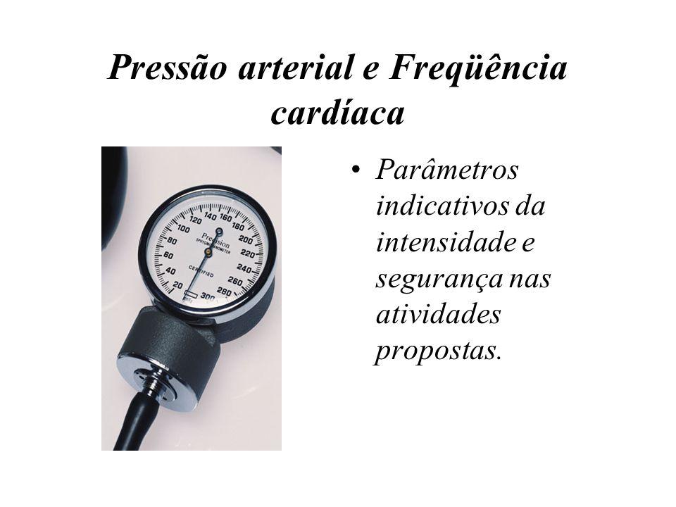 Pressão arterial e Freqüência cardíaca Parâmetros indicativos da intensidade e segurança nas atividades propostas.
