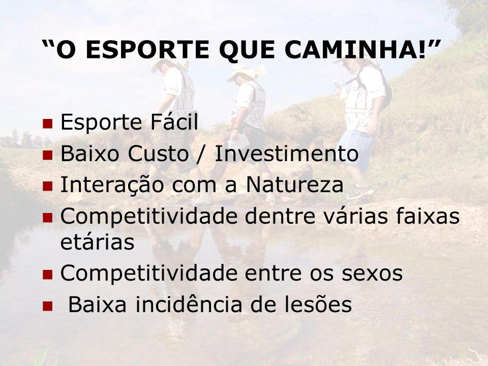 O ESPORTE QUE CAMINHA! Esporte Fácil Baixo Custo / Investimento Interação com a Natureza Competitividade dentre várias faixas etárias Competitividade