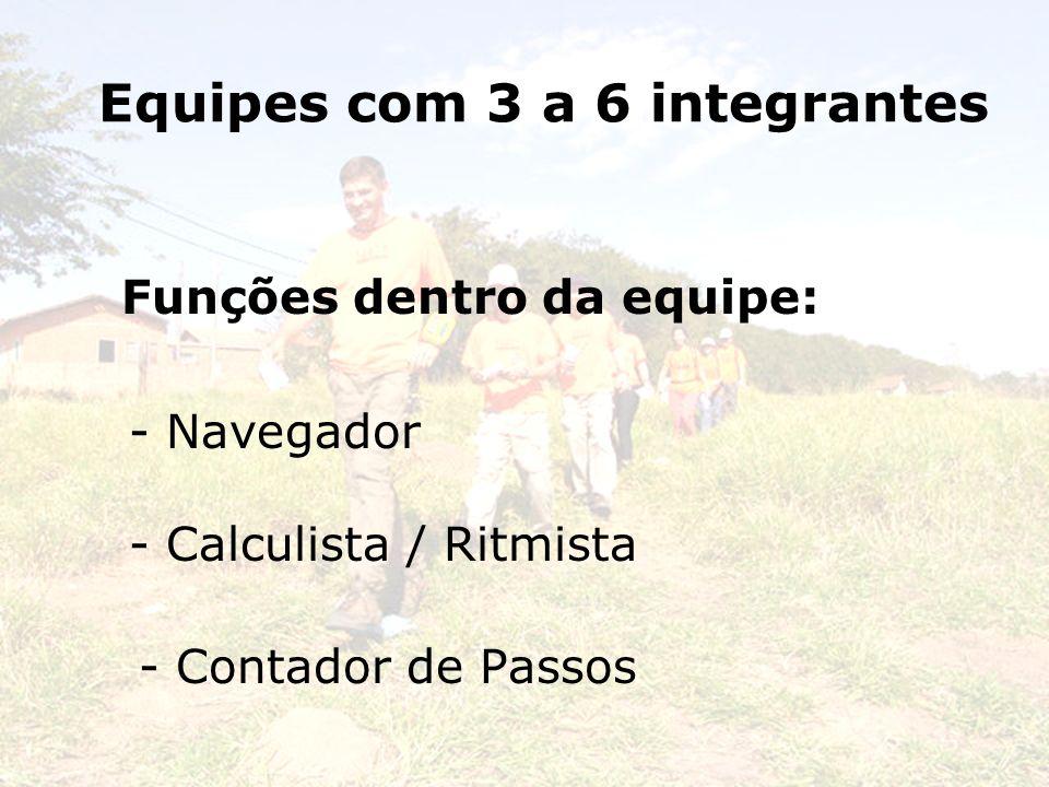 Equipes com 3 a 6 integrantes Funções dentro da equipe: - Navegador - Calculista / Ritmista - Contador de Passos
