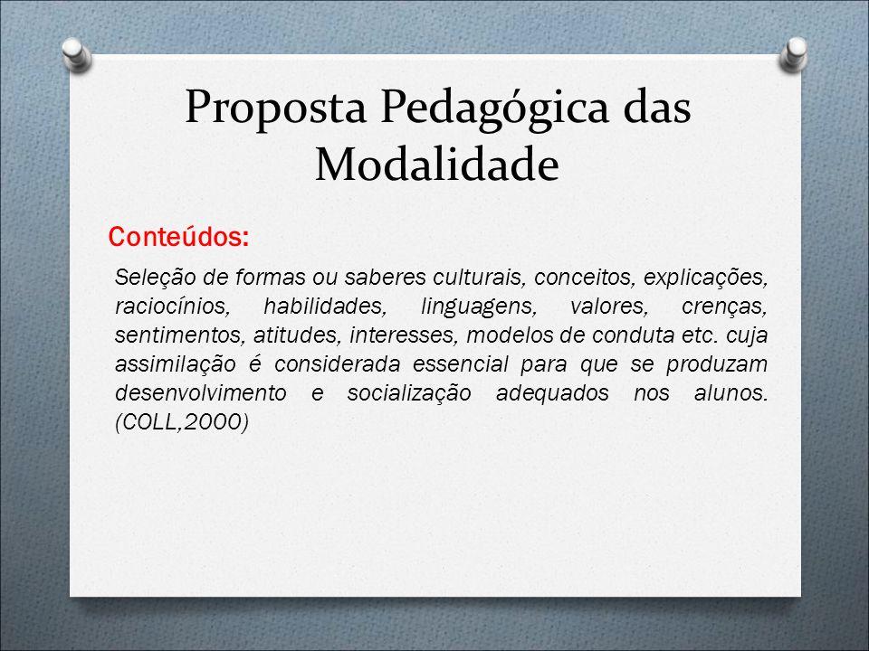 Proposta Pedagógica das Modalidade Conteúdos: Seleção de formas ou saberes culturais, conceitos, explicações, raciocínios, habilidades, linguagens, va