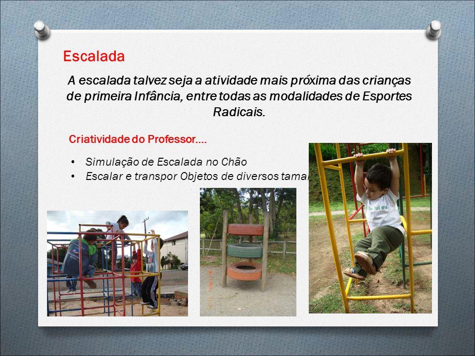 Escalada A escalada talvez seja a atividade mais próxima das crianças de primeira Infância, entre todas as modalidades de Esportes Radicais. Criativid