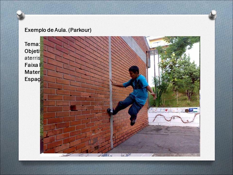 Exemplo de Aula. (Parkour) Tema: Resgate de Habilidades Objetivos: Experimentar as diferentes possibilidades de saltos e aterrissagens com e sem obstá