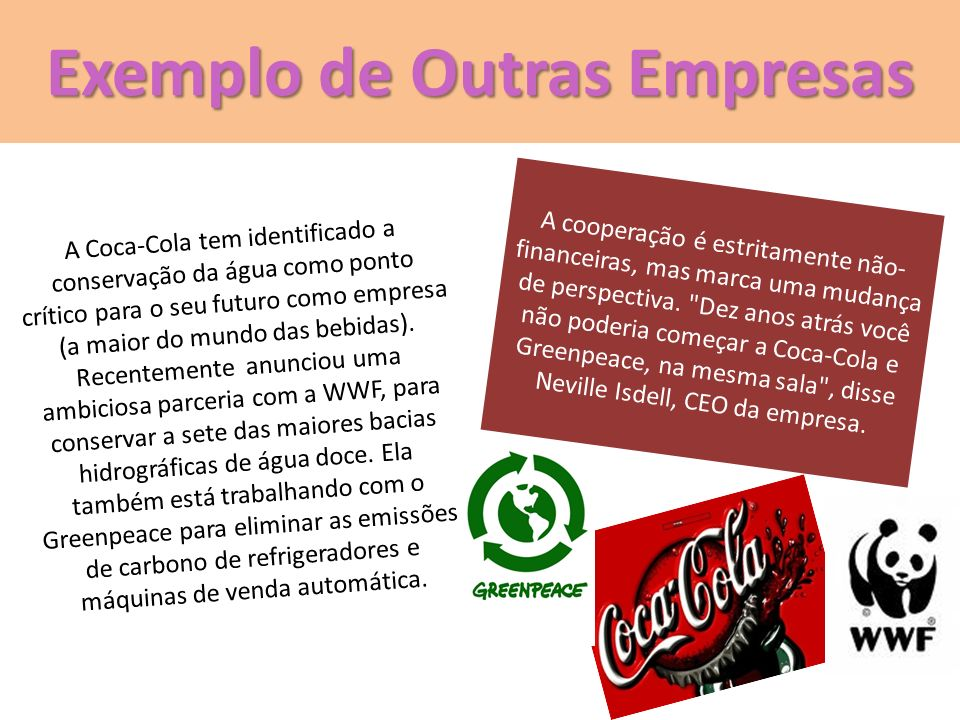 Exemplo de Outras Empresas A Coca-Cola tem identificado a conservação da água como ponto crítico para o seu futuro como empresa (a maior do mundo das