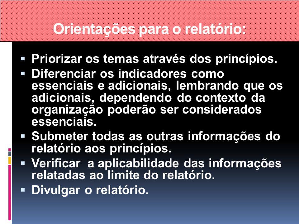Orientações para o relatório: Priorizar os temas através dos princípios. Diferenciar os indicadores como essenciais e adicionais, lembrando que os adi