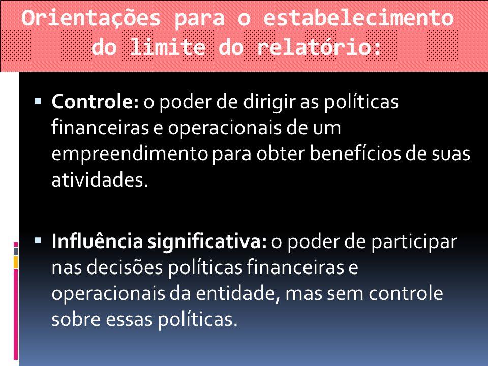 Orientações para o estabelecimento do limite do relatório: Controle: o poder de dirigir as políticas financeiras e operacionais de um empreendimento p
