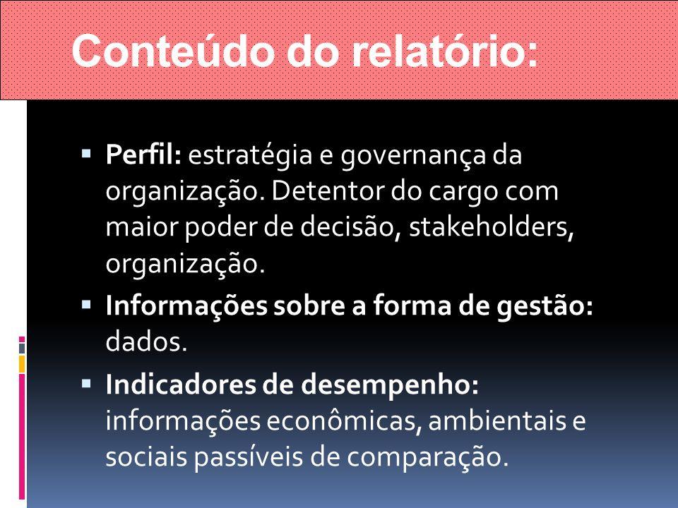Conteúdo do relatório: Perfil: estratégia e governança da organização. Detentor do cargo com maior poder de decisão, stakeholders, organização. Inform