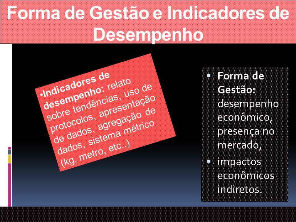 Forma de Gestão e Indicadores de Desempenho Forma de Gestão: desempenho econômico, presença no mercado, impactos econômicos indiretos. Indicadores de