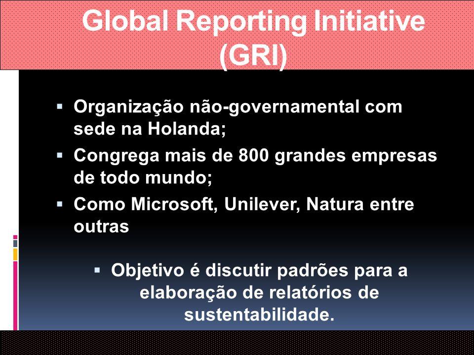 Global Reporting Initiative (GRI) Organização não-governamental com sede na Holanda; Congrega mais de 800 grandes empresas de todo mundo; Como Microso
