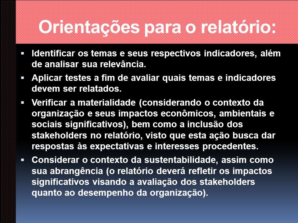 Orientações para o relatório: Priorizar os temas através dos princípios.