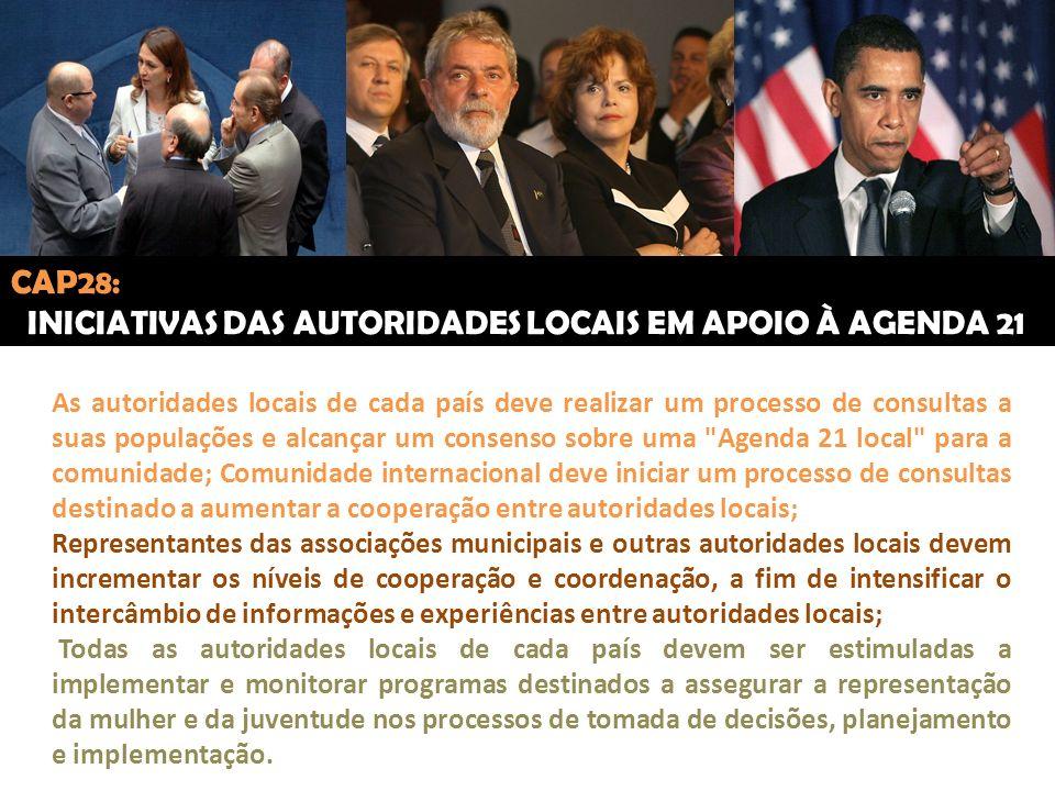 CAP28: INICIATIVAS DAS AUTORIDADES LOCAIS EM APOIO À AGENDA 21 As autoridades locais de cada país deve realizar um processo de consultas a suas popula