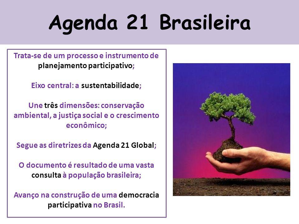 Agenda 21 Brasileira Trata-se de um processo e instrumento de planejamento participativo; Eixo central: a sustentabilidade; Une três dimensões: conservação ambiental, a justiça social e o crescimento econômico; Segue as diretrizes da Agenda 21 Global; O documento é resultado de uma vasta consulta à população brasileira; Avanço na construção de uma democracia participativa no Brasil.