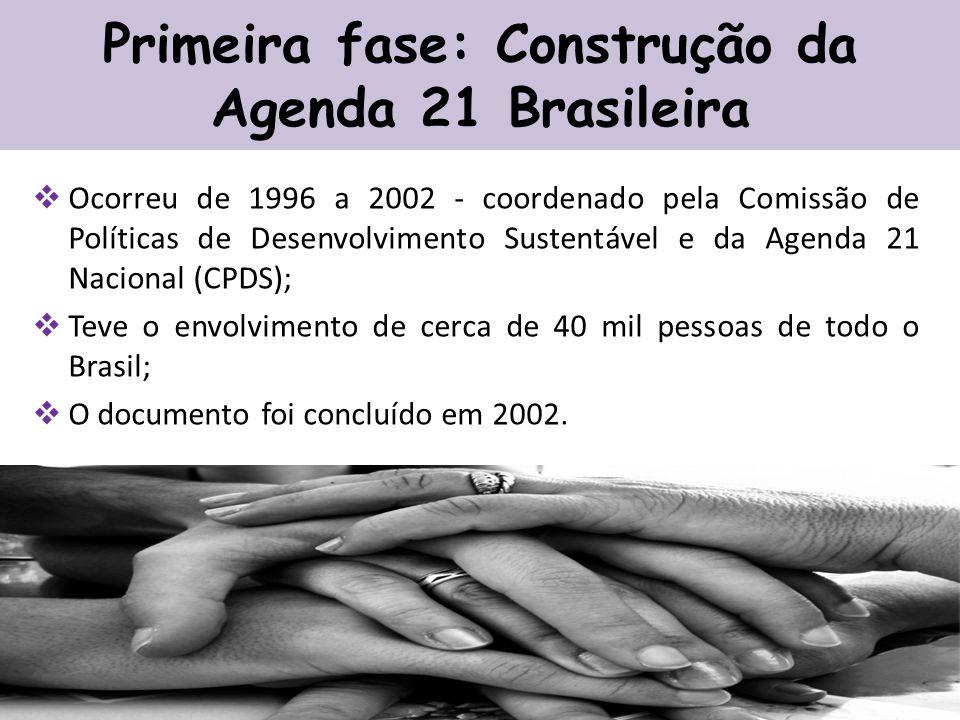 Primeira fase: Construção da Agenda 21 Brasileira Ocorreu de 1996 a 2002 - coordenado pela Comissão de Políticas de Desenvolvimento Sustentável e da Agenda 21 Nacional (CPDS); Teve o envolvimento de cerca de 40 mil pessoas de todo o Brasil; O documento foi concluído em 2002.