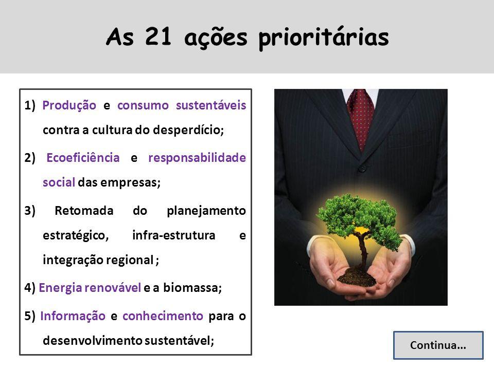 As 21 ações prioritárias 1) Produção e consumo sustentáveis contra a cultura do desperdício; 2) Ecoeficiência e responsabilidade social das empresas; 3) Retomada do planejamento estratégico, infra-estrutura e integração regional ; 4) Energia renovável e a biomassa; 5) Informação e conhecimento para o desenvolvimento sustentável; Continua...