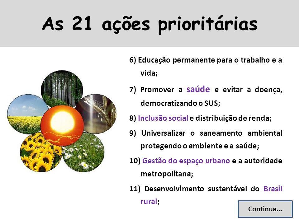 6) Educação permanente para o trabalho e a vida; 7) Promover a saúde e evitar a doença, democratizando o SUS; 8) Inclusão social e distribuição de ren