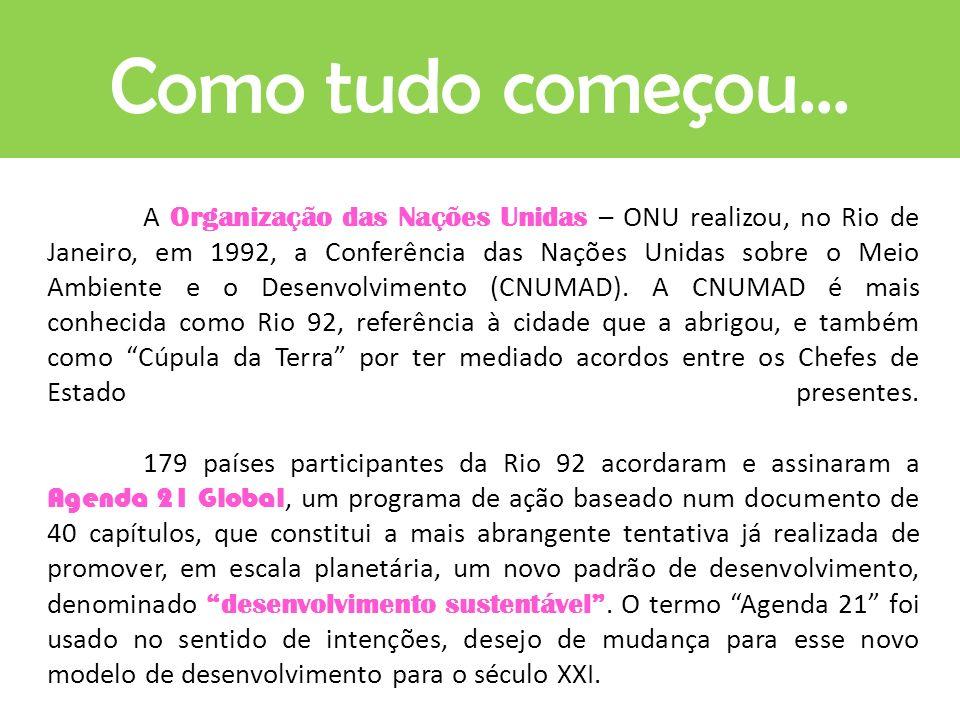 A Organização das Nações Unidas – ONU realizou, no Rio de Janeiro, em 1992, a Conferência das Nações Unidas sobre o Meio Ambiente e o Desenvolvimento (CNUMAD).