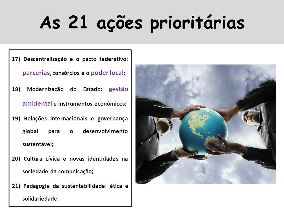 17) Descentralização e o pacto federativo: parcerias, consórcios e o poder local ; 18) Modernização do Estado: gestão ambiental e instrumentos econômi