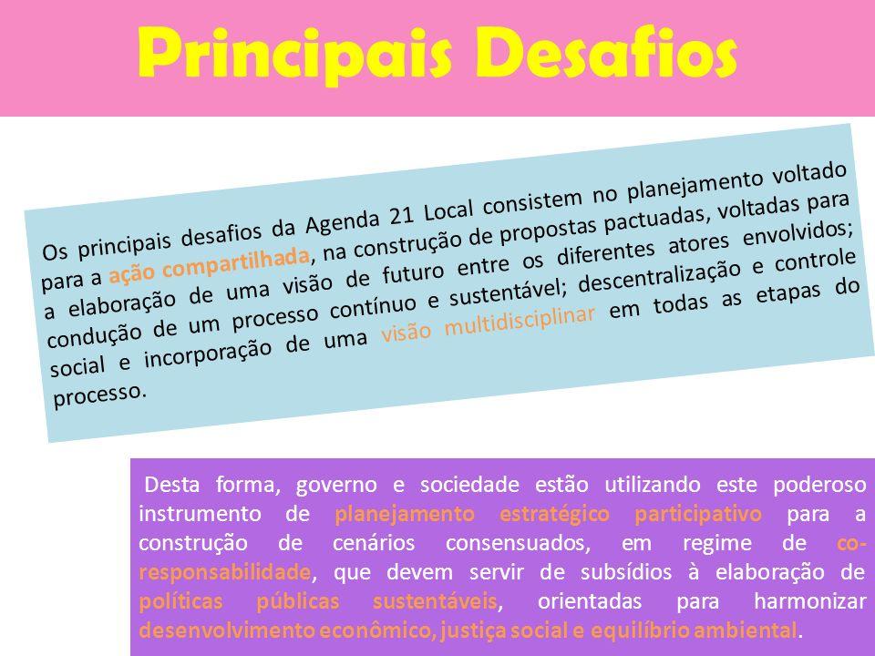 Os principais desafios da Agenda 21 Local consistem no planejamento voltado para a ação compartilhada, na construção de propostas pactuadas, voltadas