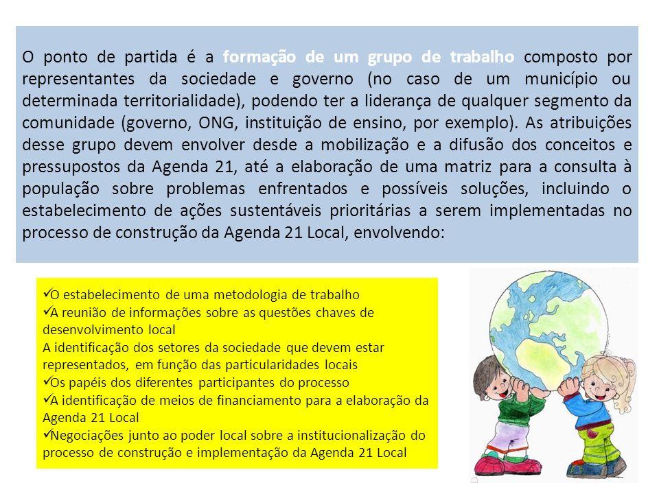 O ponto de partida é a formação de um grupo de trabalho composto por representantes da sociedade e governo (no caso de um município ou determinada ter