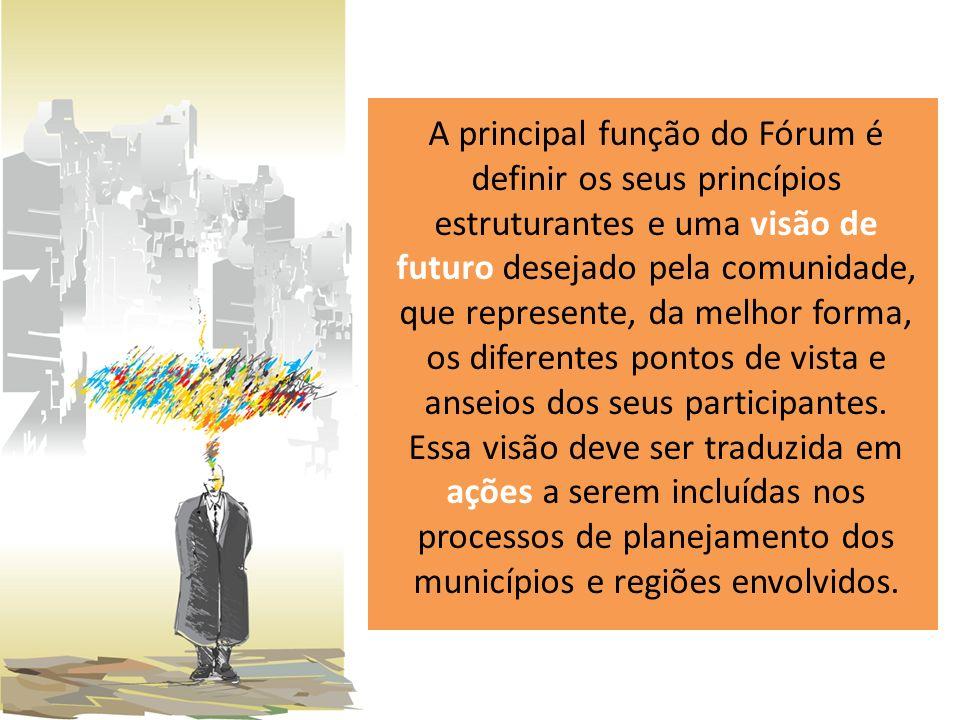 A principal função do Fórum é definir os seus princípios estruturantes e uma visão de futuro desejado pela comunidade, que represente, da melhor forma