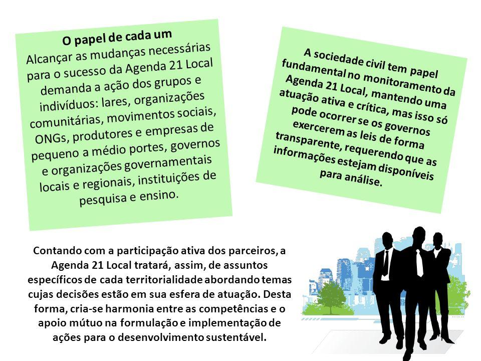 O papel de cada um Alcançar as mudanças necessárias para o sucesso da Agenda 21 Local demanda a ação dos grupos e indivíduos: lares, organizações comu