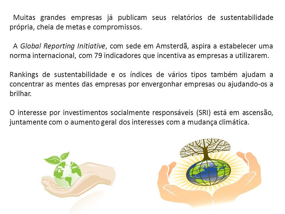 Muitas grandes empresas já publicam seus relatórios de sustentabilidade própria, cheia de metas e compromissos. A Global Reporting Initiative, com sed