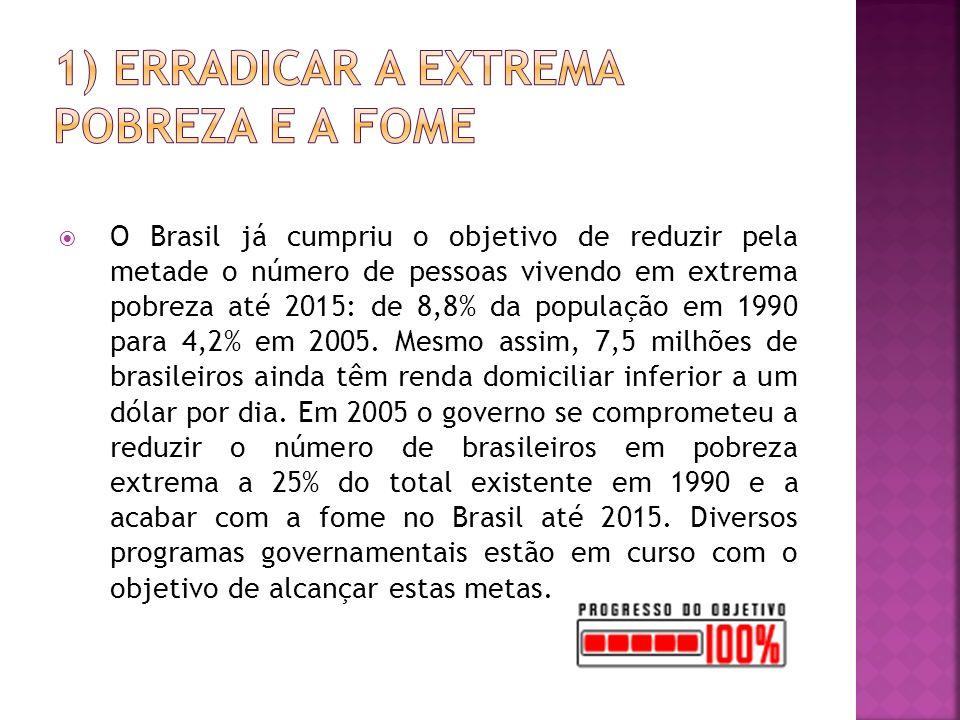 O Brasil já cumpriu o objetivo de reduzir pela metade o número de pessoas vivendo em extrema pobreza até 2015: de 8,8% da população em 1990 para 4,2% em 2005.