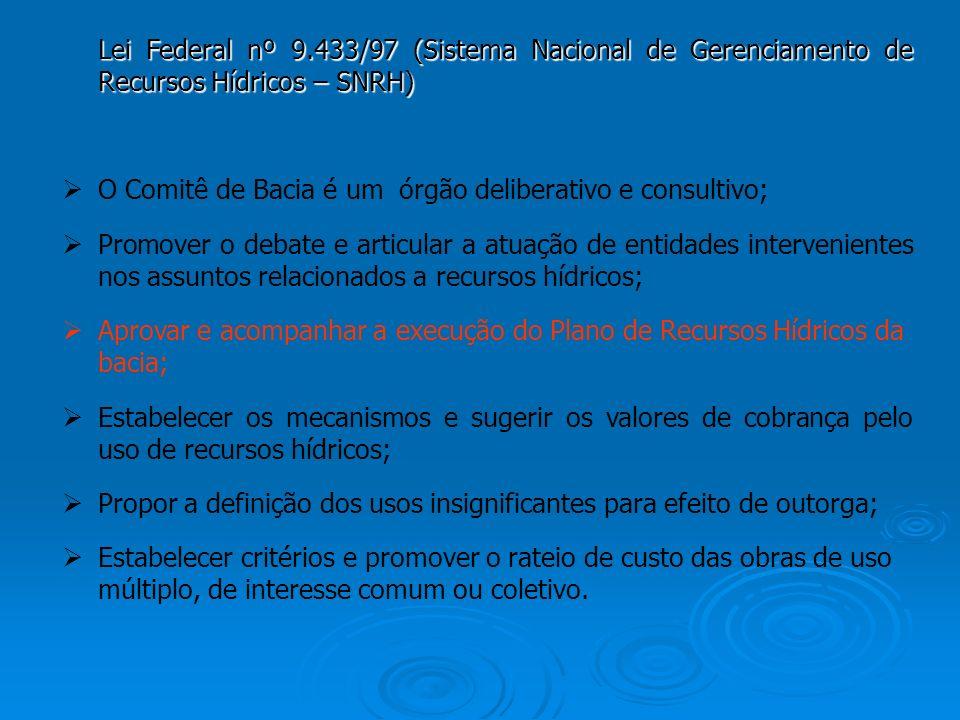 Lei Federal nº 9.433/97 (Sistema Nacional de Gerenciamento de Recursos Hídricos – SNRH) O Comitê de Bacia é um órgão deliberativo e consultivo; Promov