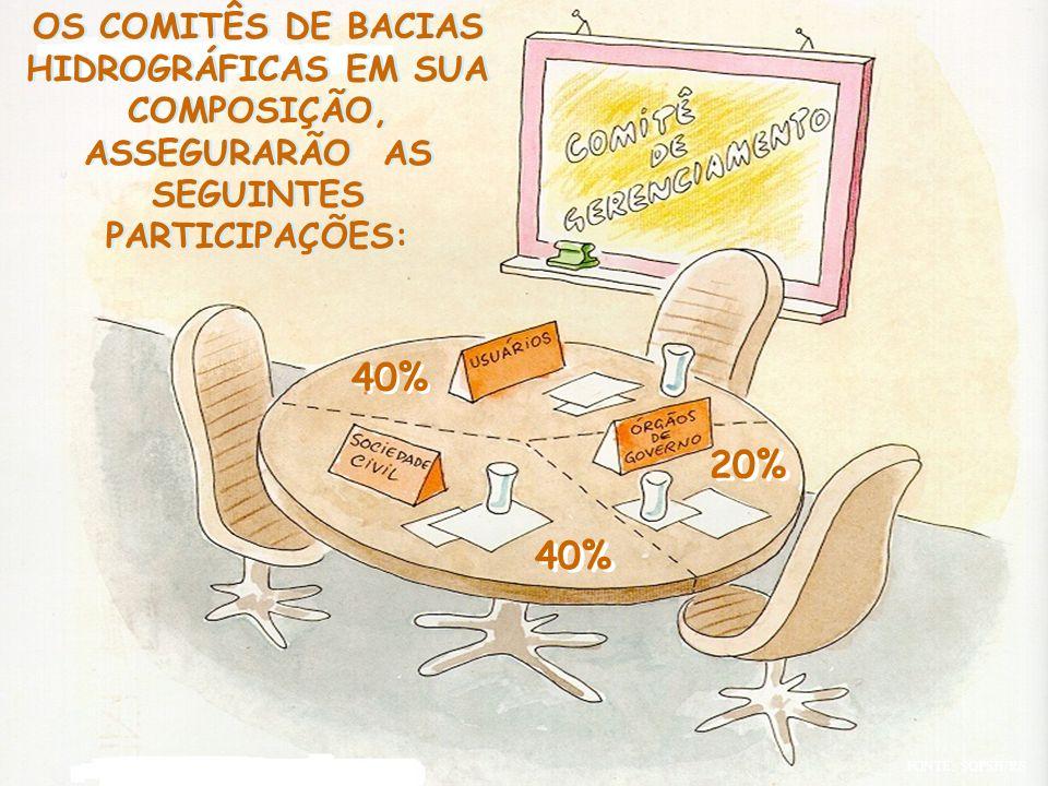 OS COMITÊS DE BACIAS HIDROGRÁFICAS EM SUA COMPOSIÇÃO, ASSEGURARÃO AS SEGUINTES PARTICIPAÇÕES: 40% 20%
